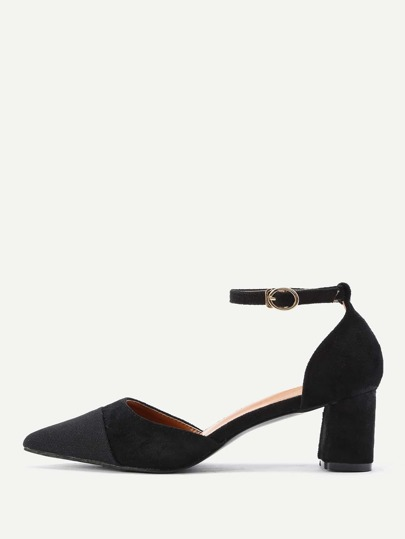 Point Toe Ankle Strap Heeled Shoes