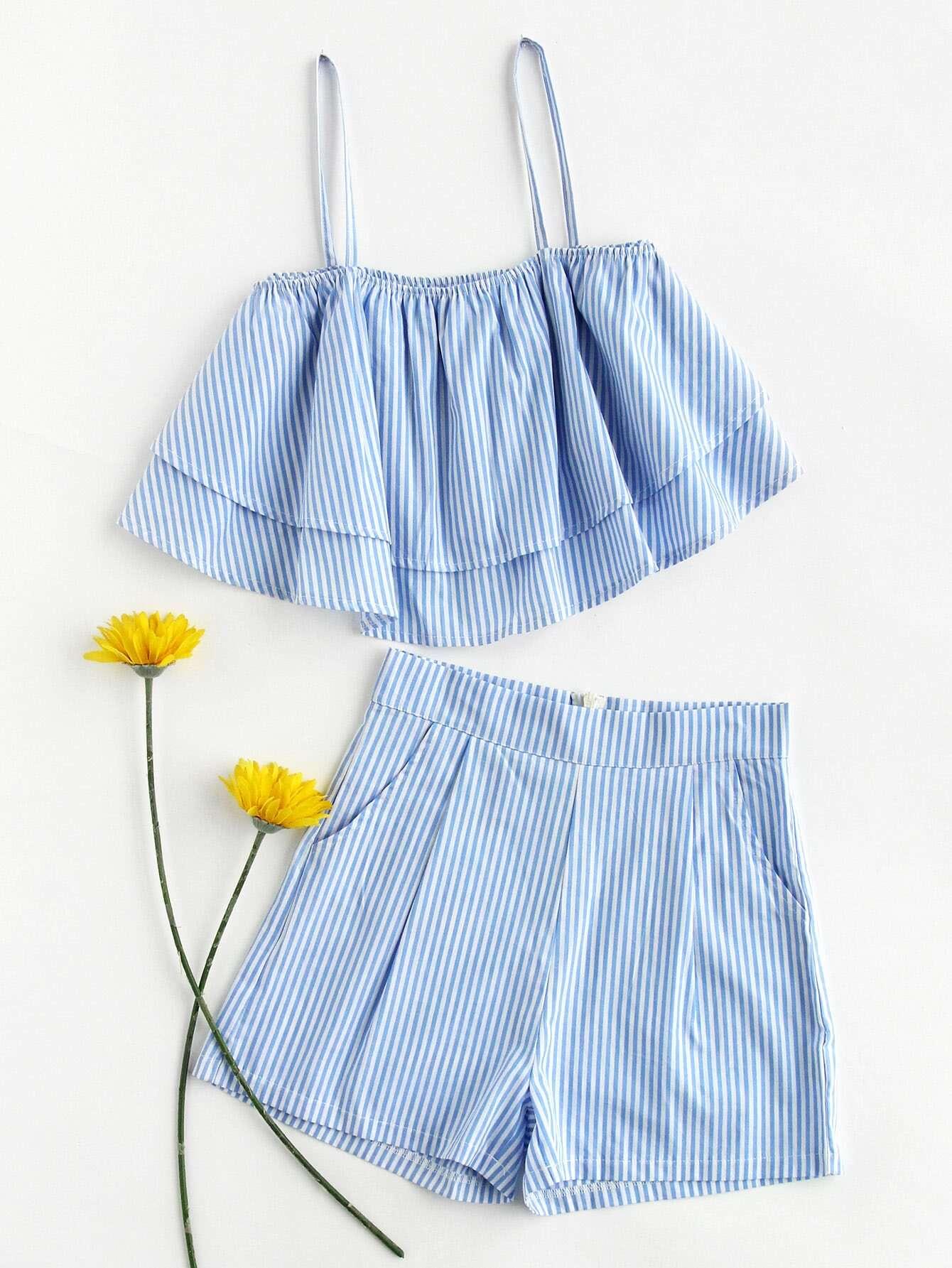 Фото Stripe Tiered Crop Cami Top And Shorts Set. Купить с доставкой