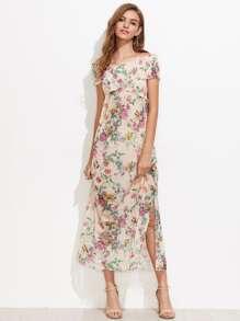 Vestido floral con escote barco y abertura lateral