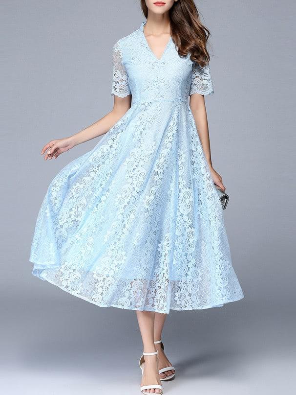 V Neck A-Line Lace Dress