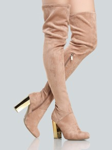 Faux Suede Gold Heel Thigh Highs CAMEL