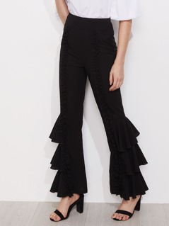 Shirred Ruffle Detail Layered Leg Pants