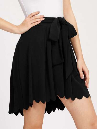Bow Tie Scallop Edge High Low Skirt