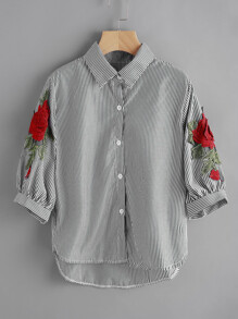 Pinstripe Rose Embroidered Appliques Shirt