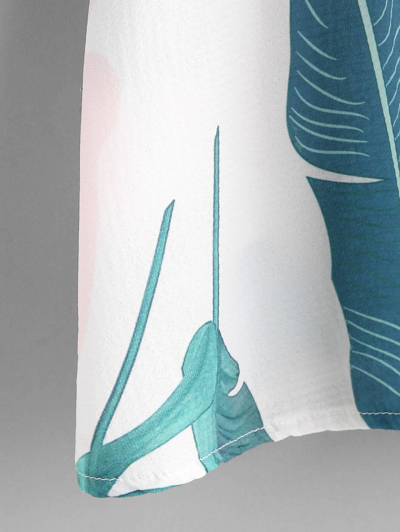 Banana Leaf Print Cold Shoulder Top