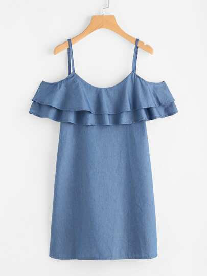 Tiered Frill Trim Chambray Dress