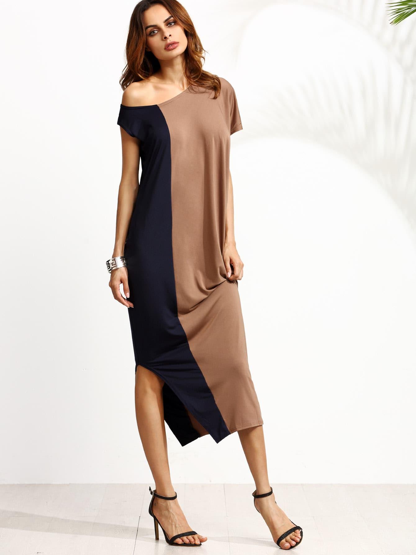 Two Tone One Shoulder Side Split Dress