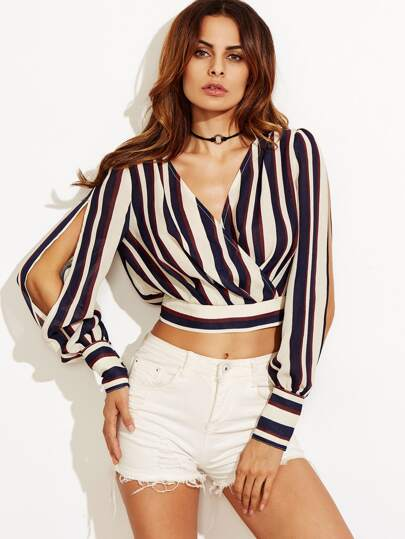Striped Split Sleeve Surplice Front Crop Blouse