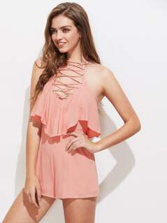 Halterneck Criss Cross Front Ruffle Playsuit
