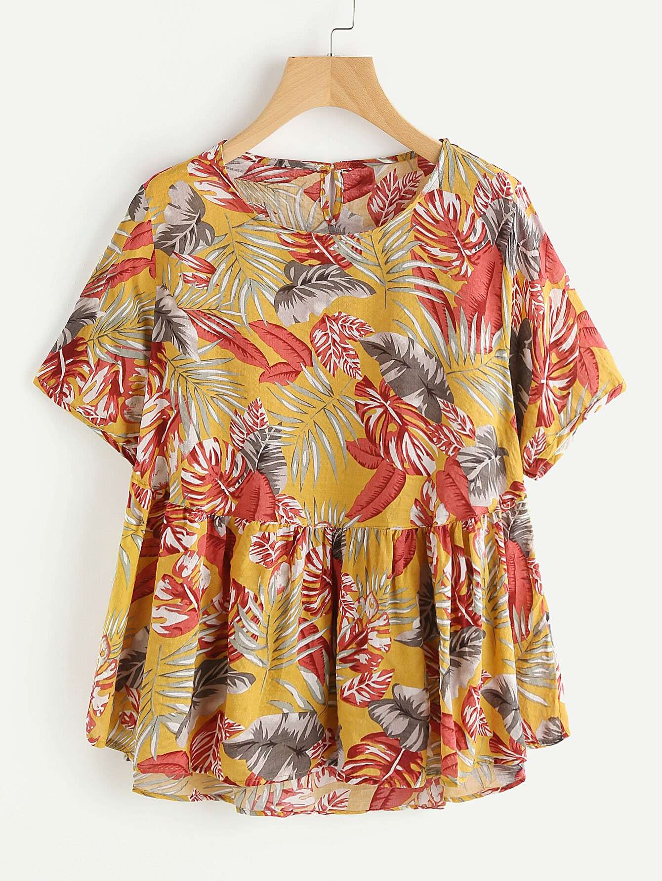 Фото Allover Tropical Print Keyhole Back Smock Blouse. Купить с доставкой
