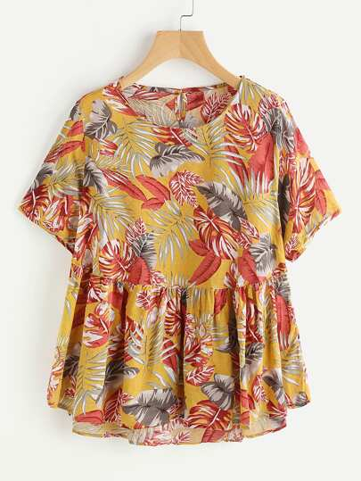 Allover Tropical Print Keyhole Back Smock Blouse