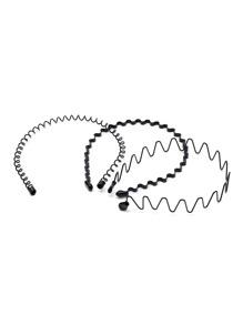 3 piezas de diadema en forma ondulada