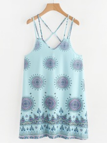 Vintage Print Strappy Dress