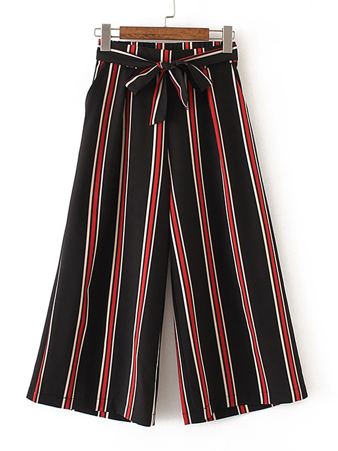 Vertical Striped Wide Leg Pants With Self Tie bow tie side wide leg pants