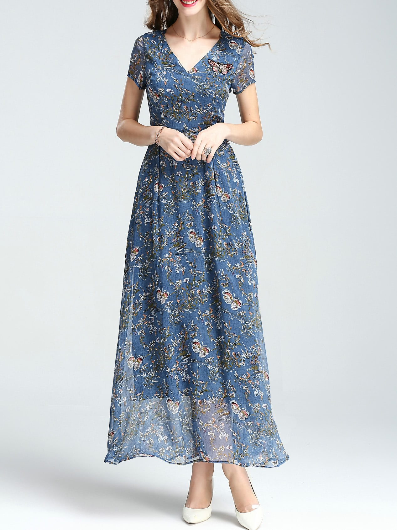 V neck floral butterfly embroidered dress shein sheinside
