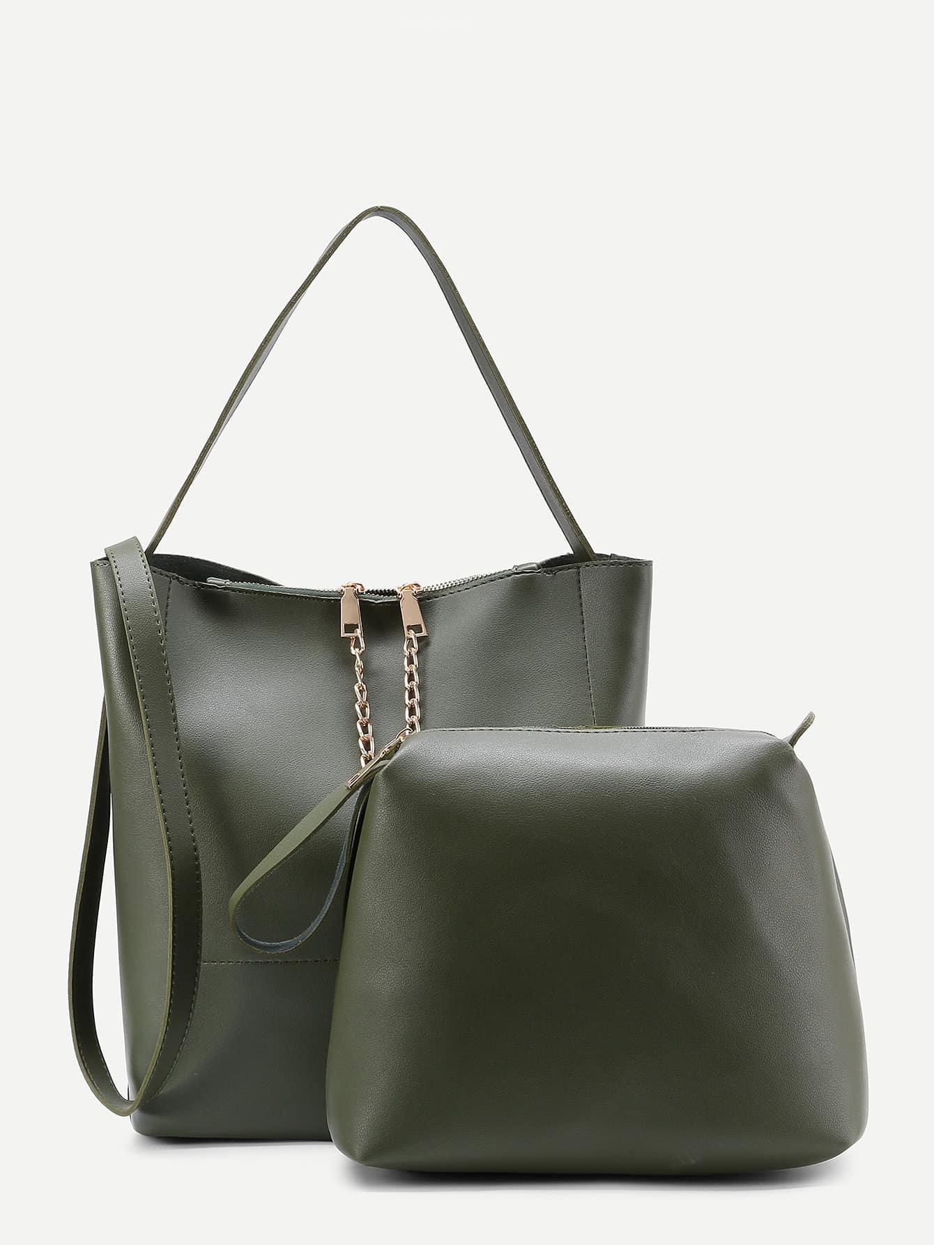 Фото Chain Detail PU Combination Bag. Купить с доставкой