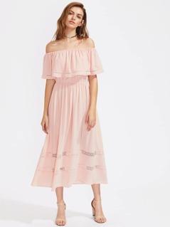 Flounce Layered Neckline Crochet Insert Dress
