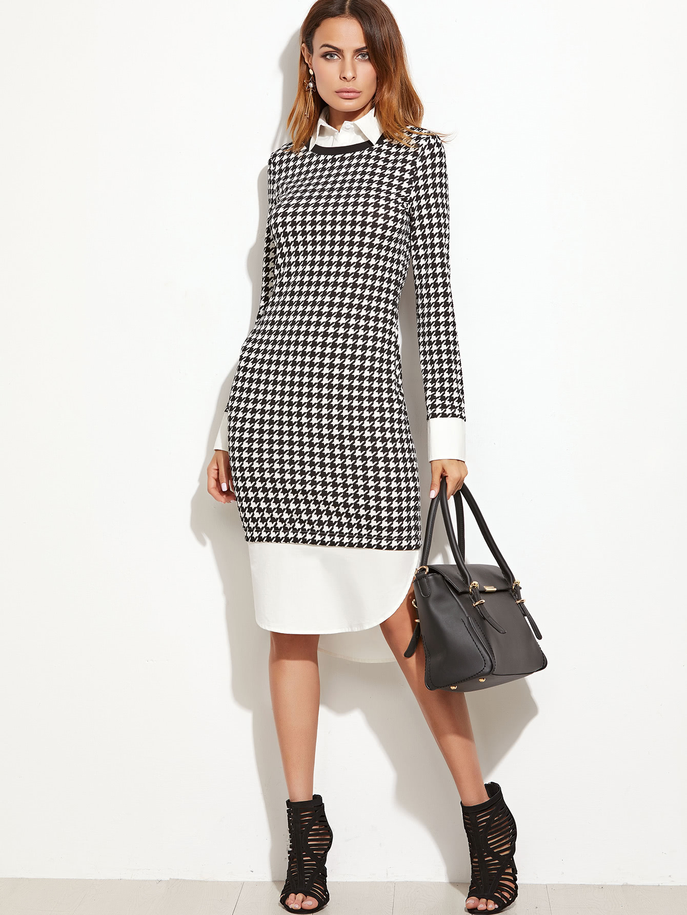 Houndstooth Contrast Curved Hem Combo Dress batwing sleeve pocket side curved hem textured dress