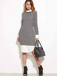 Black And White Curved Hem Houndstooth Combo Sheath Dress