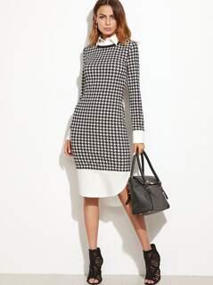 Black And White Curved Hem Houndstooth Combo Sheath Dress