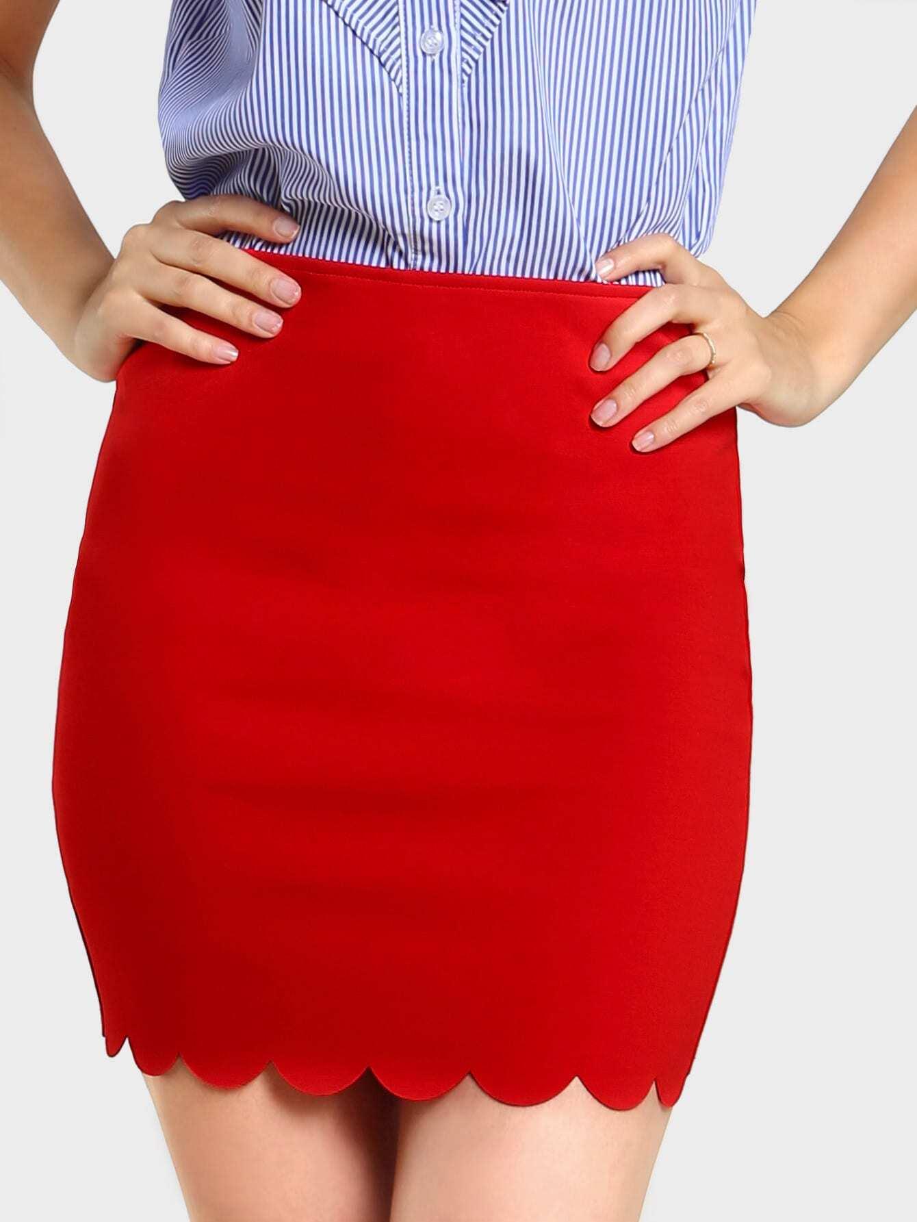 Фото Scallop Edge Form Fitting Skirt. Купить с доставкой