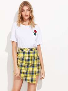 Checkered Overlap Skirt pictures