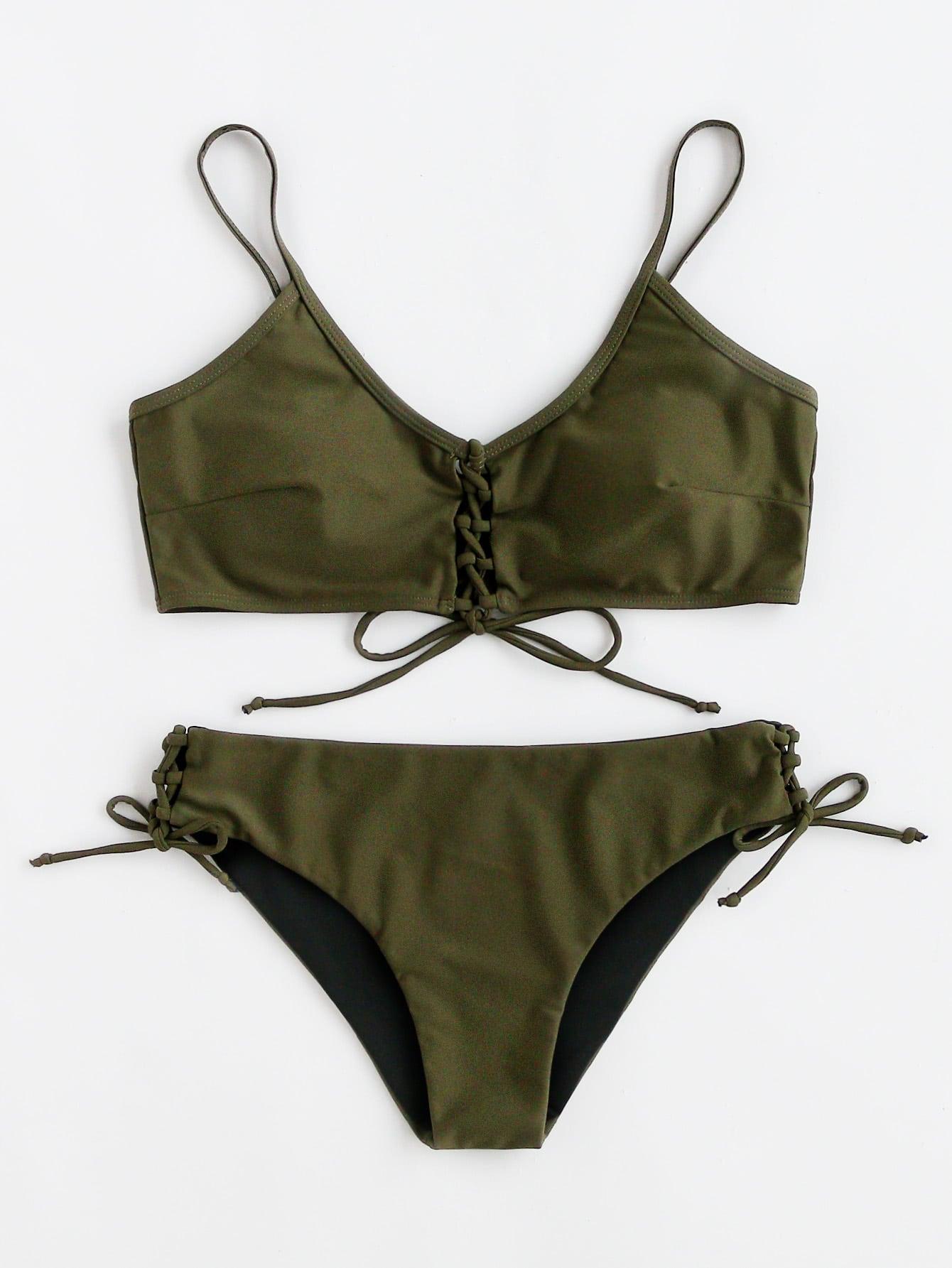 Фото Lace Up Front And Side Bikini Set. Купить с доставкой