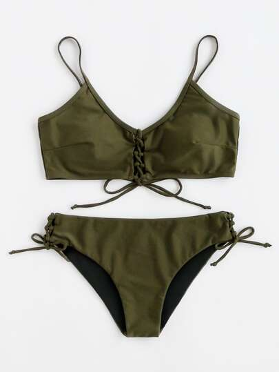 Lace Up Front And Side Bikini Set