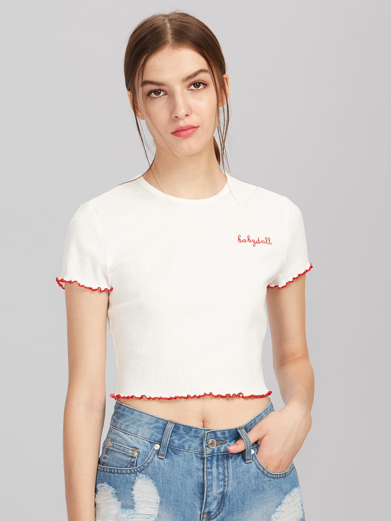 Lettuce Hem Edge Rib Knit Embroidered Tee tee170626703