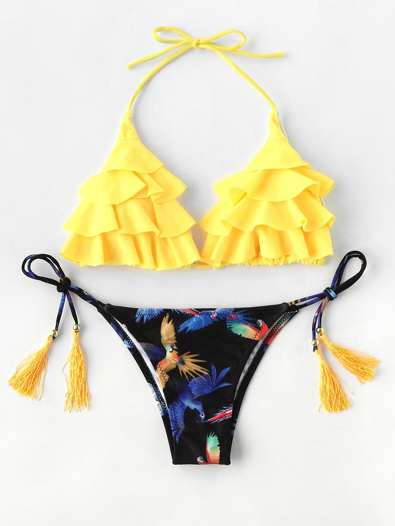 Bird Print Tassel Tie Flounce Bikini Set swimwear170628316