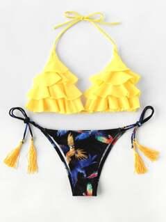 Bird Print Tassel Tie Flounce Bikini Set