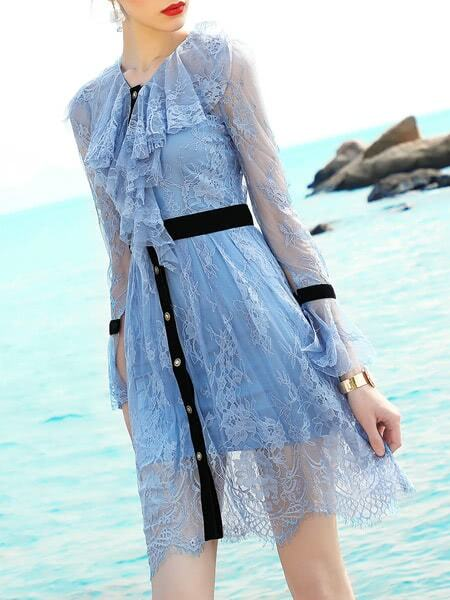 Фото Ruffle Neck Bell Sleeve Lace Dress. Купить с доставкой