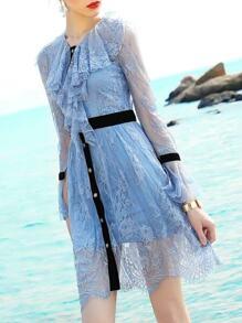 Ruffle Neck Bell Sleeve Lace Dress