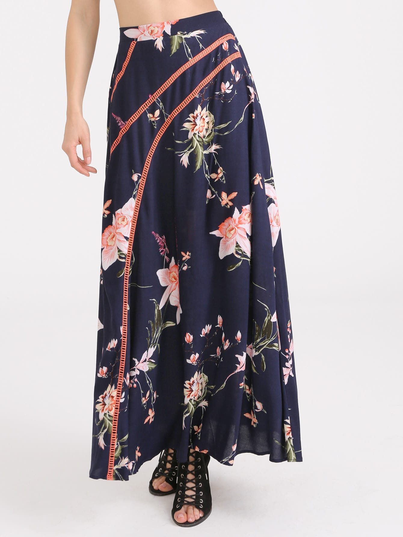 Фото Flower Print Eyelet Crochet Detail Maxi Skirt. Купить с доставкой