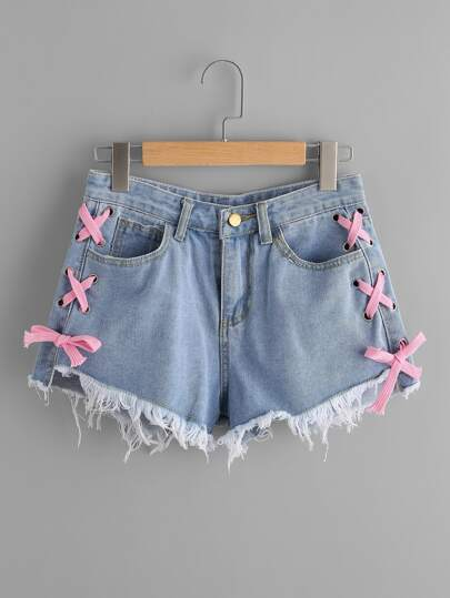 Lace Up Side Frayed Hem Denim Shorts