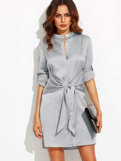 Roll Up Sleeve Tie Waist Split Dress
