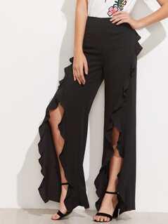 Ruffle Trim Split Front Pants