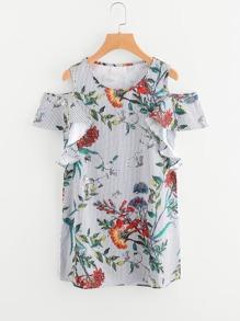 Open Shoulder Floral Print Pinstripe Frill Trim Dress