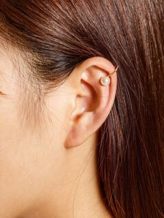 Faux Pearl Decorated Ear Cuff 1pcs