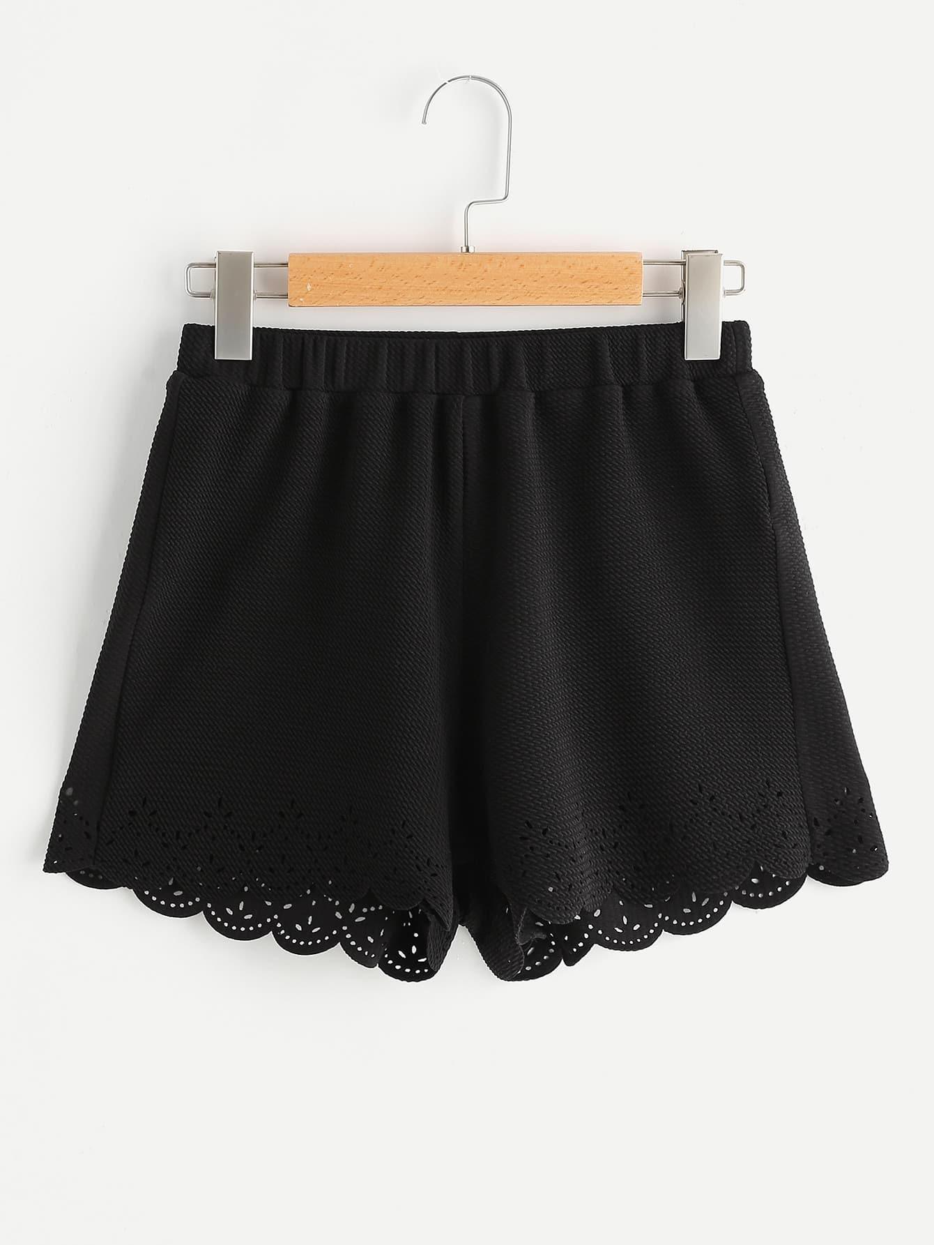 Elastic Waist Textured Laser Cut Scallop Shorts