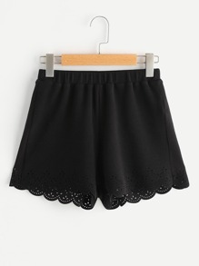 Short con cintura elástica y calados a láser
