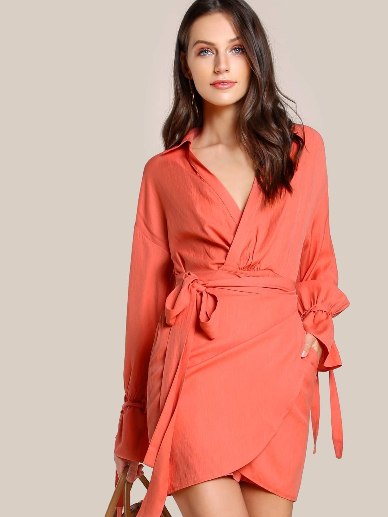 Фото Belted Sleeve Overlap Dress. Купить с доставкой