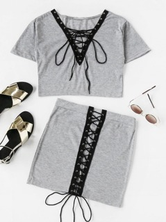 Plunging V-Neckline Eyelet Lace Up Front Crop Top With Skirt