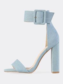 Chunky Denim Ankle Strap Heels
