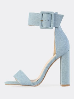 Chunky Denim Ankle Strap Heels