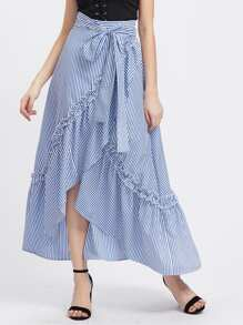 Self Belt Ruffle Trim Striped Overlap Skirt