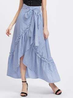Self Belt Ruffle Trim Striped Overlap Skirt