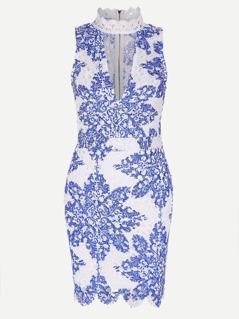 Band Collar Floral Zipper Back Dress