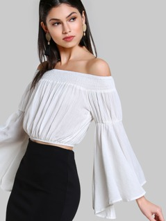 Smocked Off Shoulder Exaggerated Bell Sleeve Top