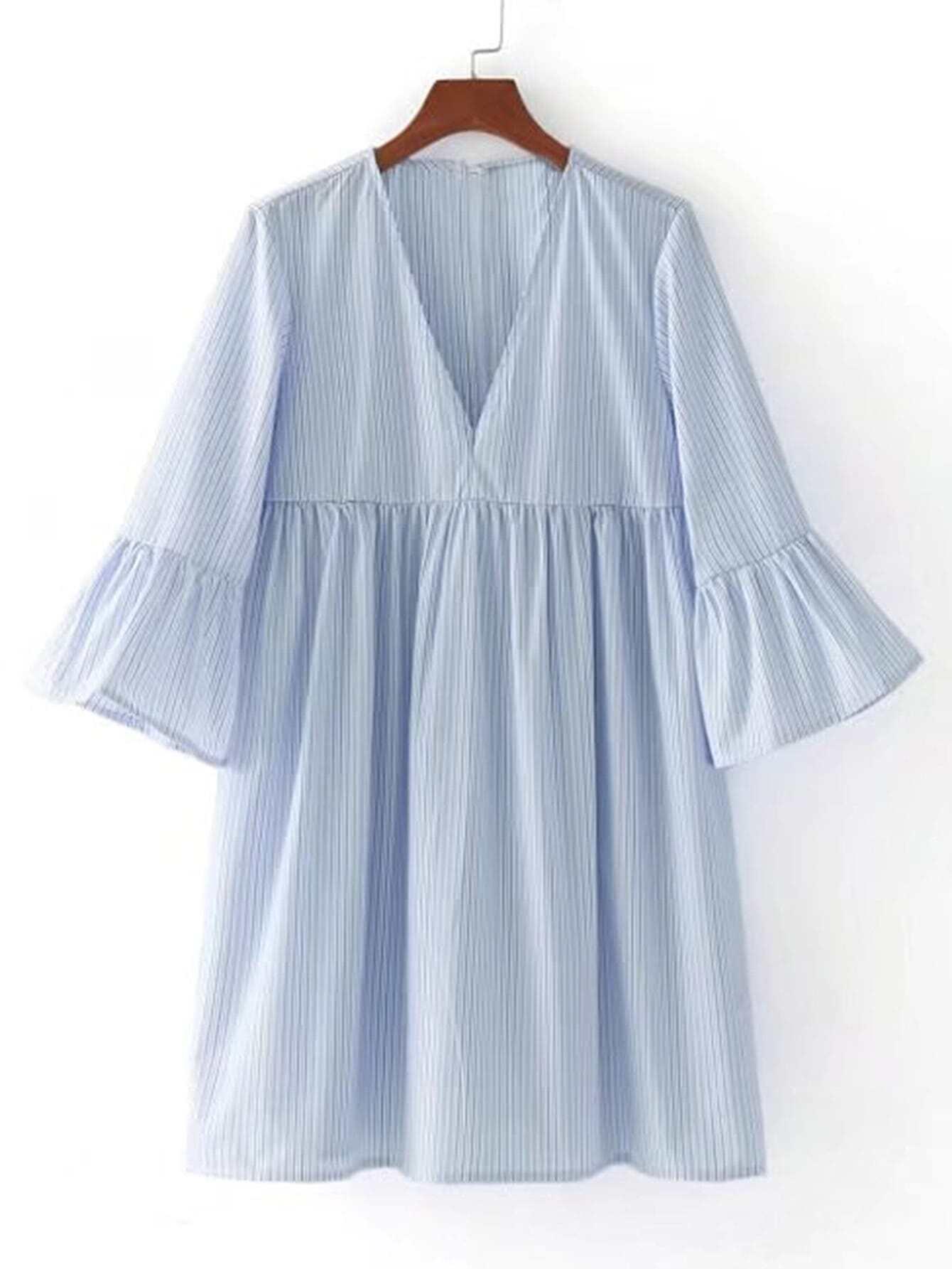 Bell Sleeve Vertical Striped Dress RDRE170616204